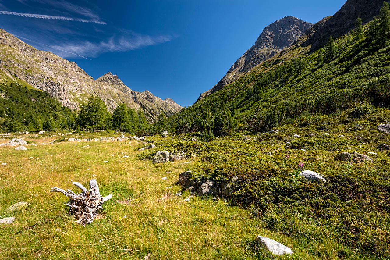 Фото Альпы Швейцария Val Bever Горы Природа Камни траве альп гора Трава Камень