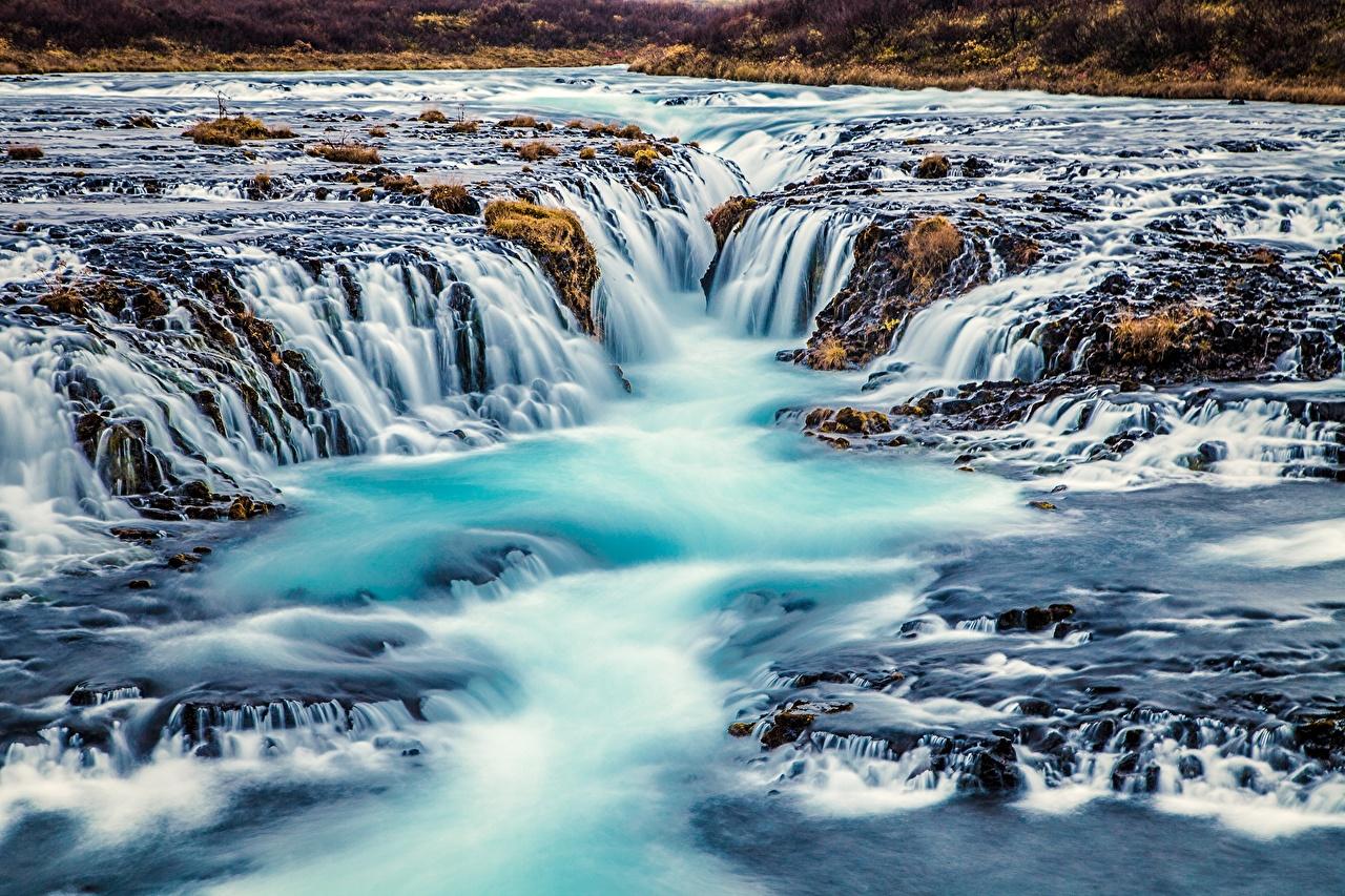 Картинка Исландия Bruarfoss Arnessysla Природа Водопады речка Реки река