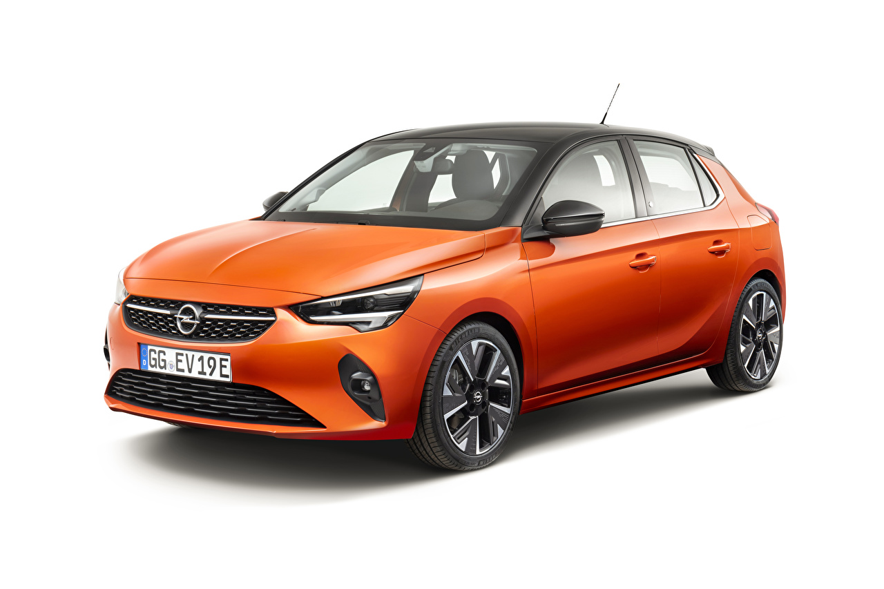 Фото Opel 2019-20 Corsa-e Оранжевый Автомобили белым фоном Опель оранжевых оранжевые оранжевая авто машина машины автомобиль Белый фон белом фоне