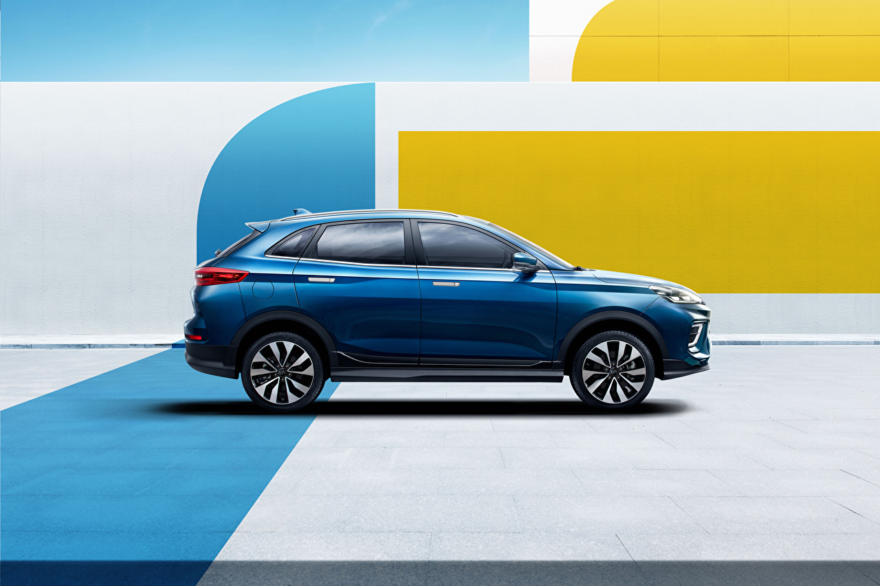 Фотографии Китайские Кроссовер Weltmeister EX5-Z, 2020 -- Синий Сбоку Металлик Автомобили китайский китайская CUV синяя синие синих авто машины машина автомобиль
