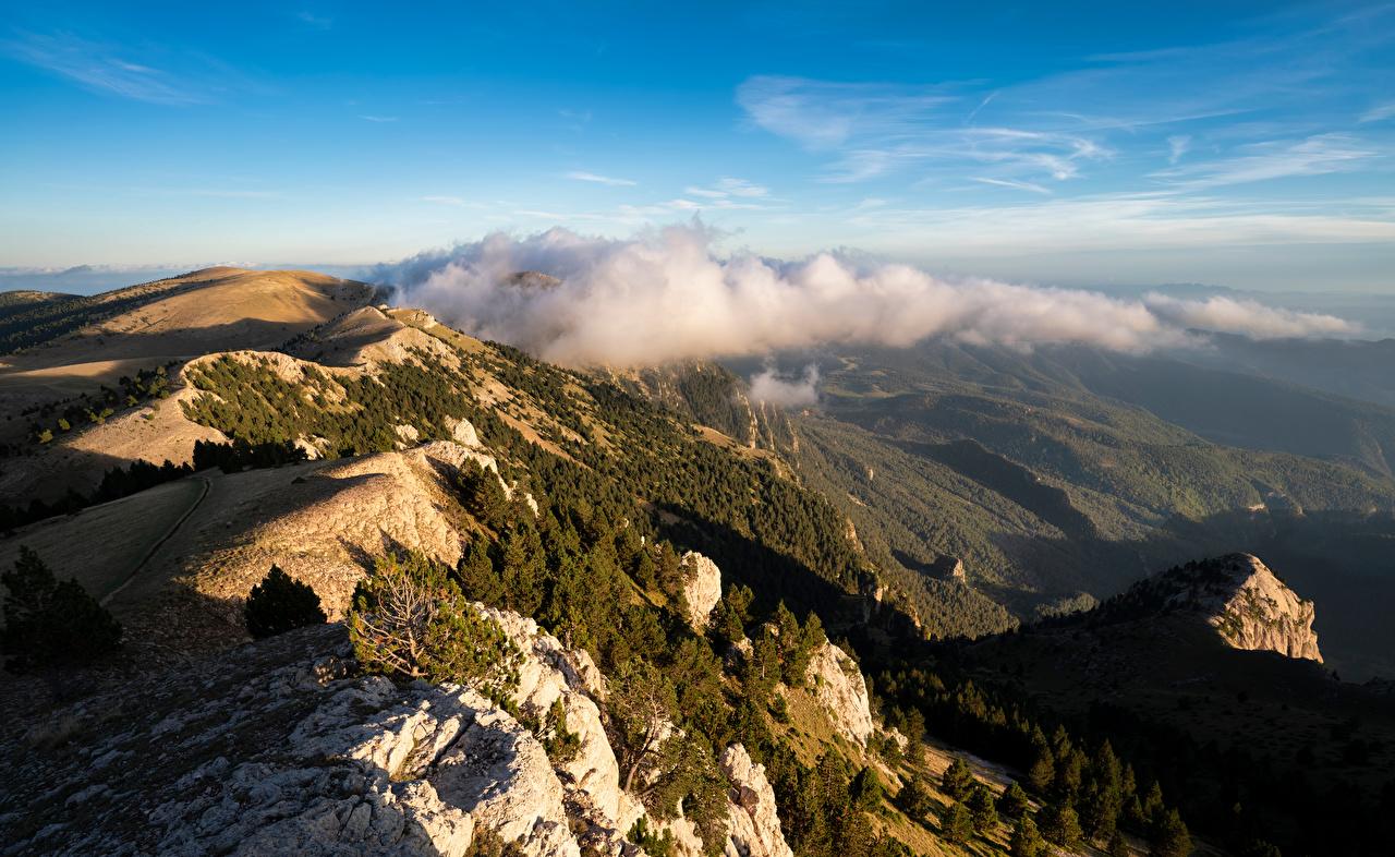 Фотография Испания Catalonia Горы Природа Сверху Облака гора облако облачно
