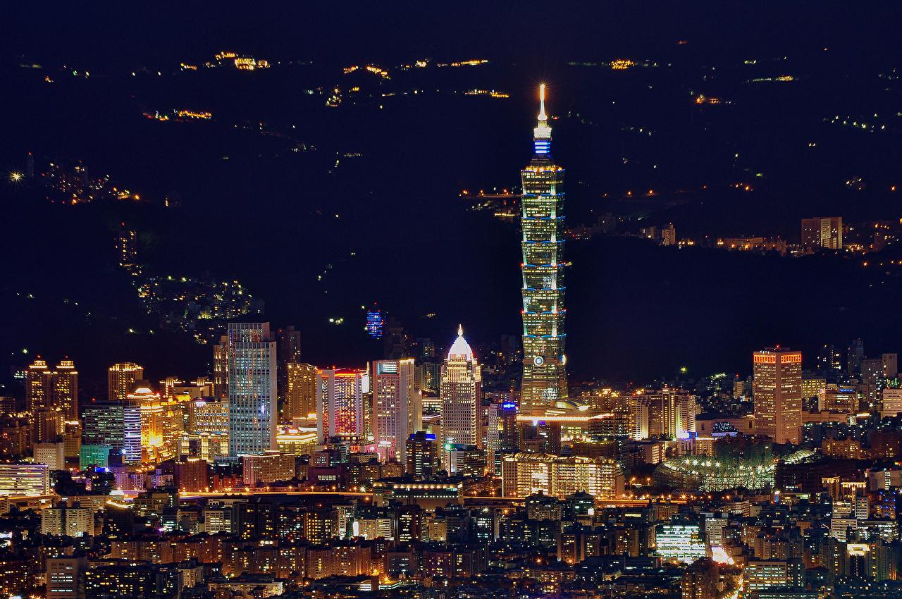 Фотографии Тайбэй Тайвань Китай Ночь Города Здания ночью в ночи Ночные Дома город