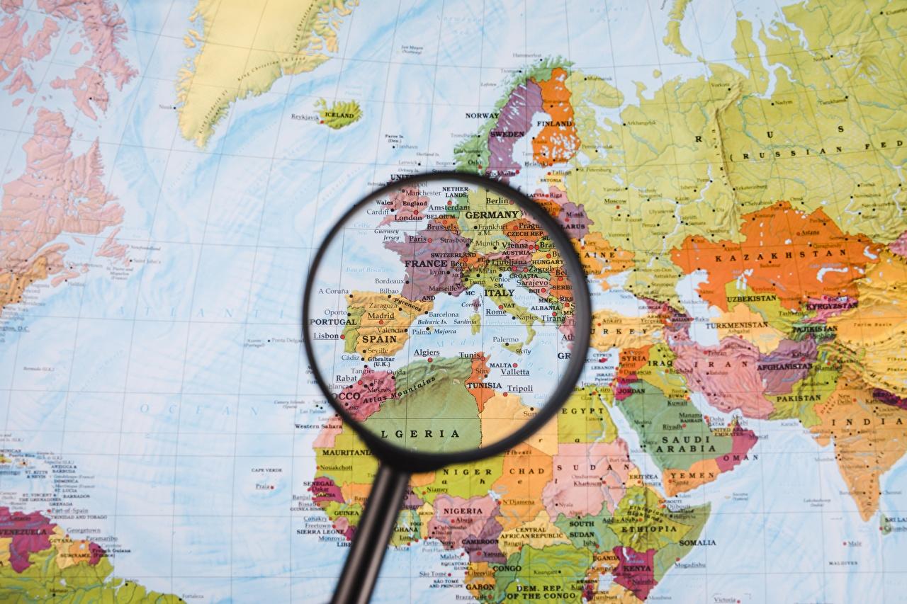 Фотография Европа Африка Лупа Географическая карта География Увеличительное стекло