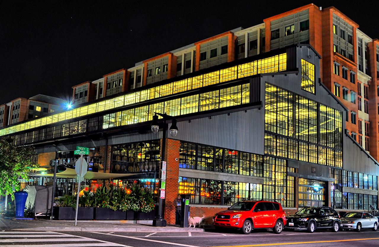 Фотография Вашингтон штаты Navy Yards улиц Ночь Дома город США америка Улица улице ночью в ночи Ночные Города Здания