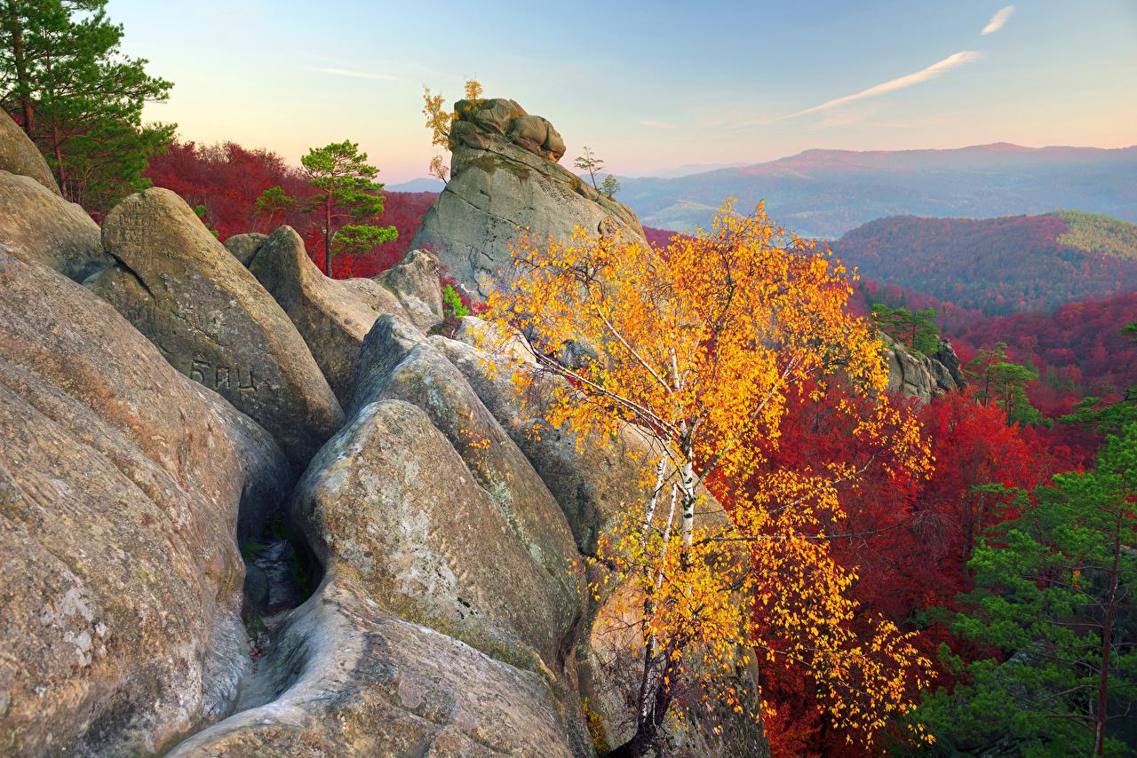 Фотографии Карпаты Украина Dovbush Rocks Горы Утес Осень Природа Леса Скала осенние