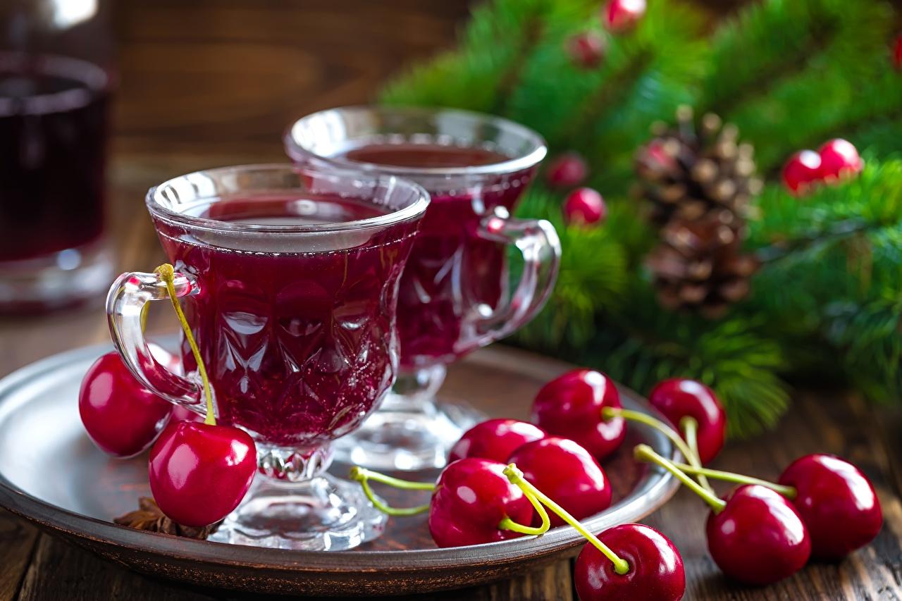 Фотографии Сок Вишня Еда Чашка Черешня Пища чашке Продукты питания