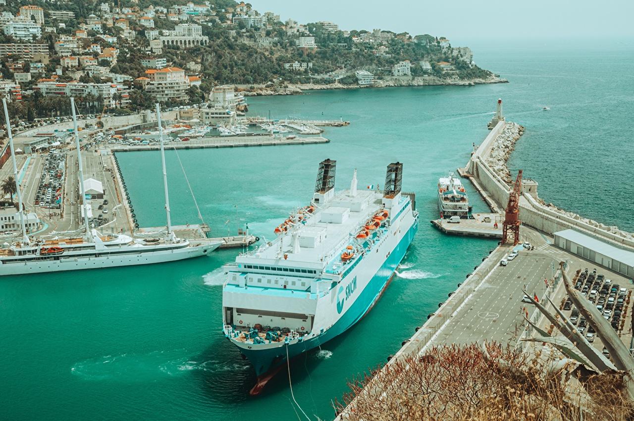 Фото Франция Nice, Alpes-Maritimes Корабли Пристань город корабль Пирсы Причалы Города