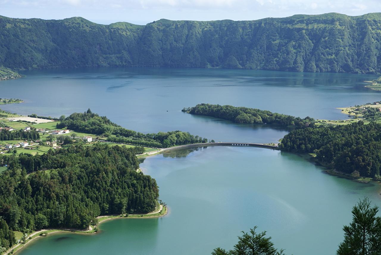 Картинка Португалия Azores Природа Остров Сверху