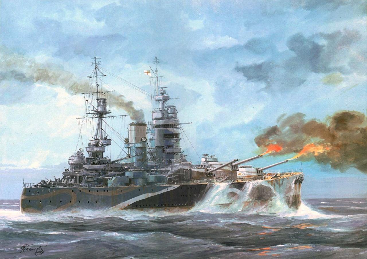 Картинка Rodney battleship royal navy Корабли Рисованные Армия корабль военные