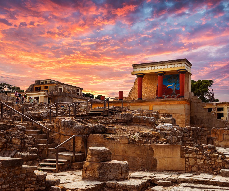 Картинка Дворец Греция Knoss palase Crete Лестница Руины Города Развалины