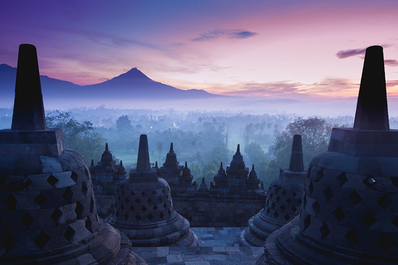 Обои Индонезия Yogyakarta Java Туман Храмы Города тумана тумане