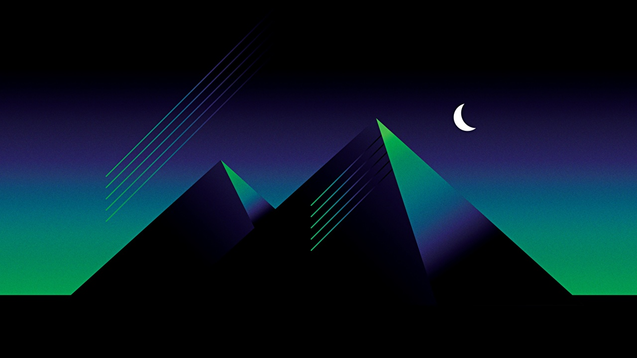 Фотография Ретровейв Природа Пирамида Ночь Синтвейв Ночные