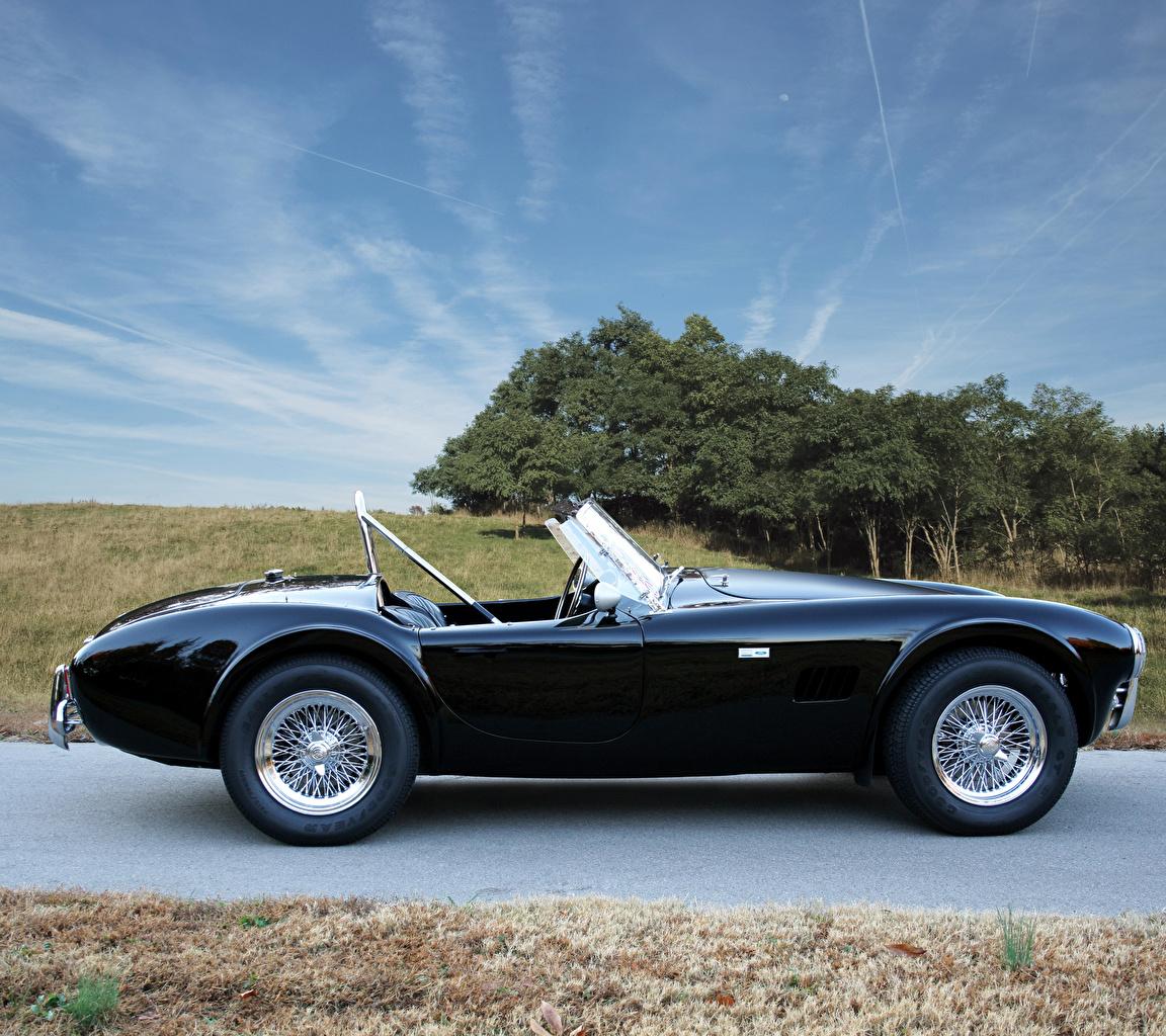 Фото Shelby Super Cars 1965 Cobra 289 кабриолета черная авто Сбоку Металлик SSC Кабриолет черных черные Черный машина машины автомобиль Автомобили