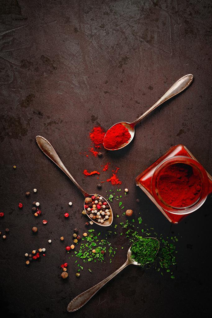 Фото Перец чёрный Пища Ложка приправы  для мобильного телефона Еда ложки Специи пряности Продукты питания