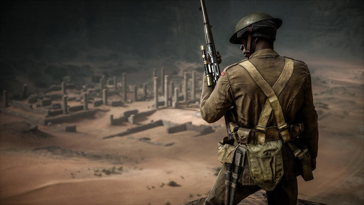 Картинки Battlefield 1 Снайперская винтовка Солдаты Игры Сзади вид