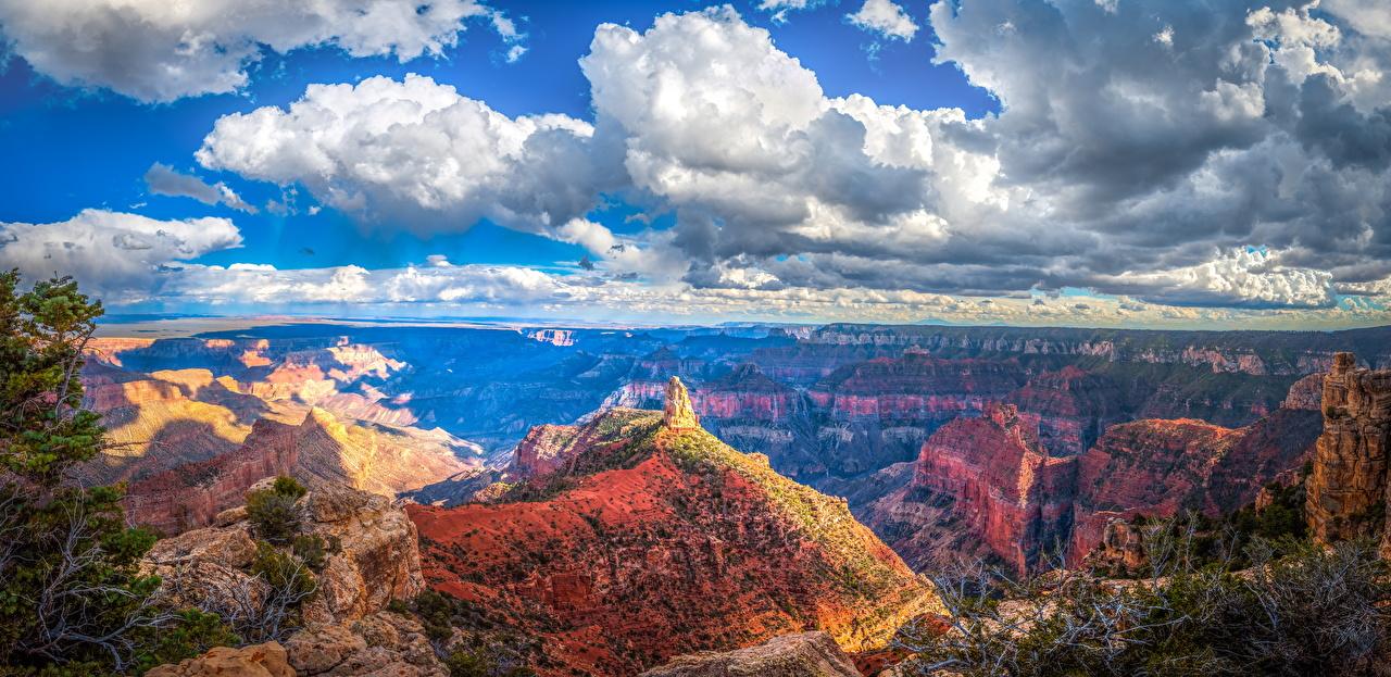 Картинки Гранд-Каньон парк США Панорама Скала каньоны Природа парк Пейзаж Облака штаты америка панорамная Утес скале скалы Каньон каньона Парки облако облачно
