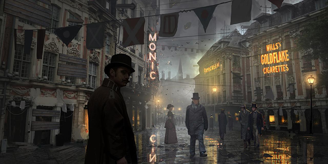 Обои для рабочего стола Мужчины steampunk Фантастика Улица ночью Уличные фонари мужчина Фэнтези улиц улице Ночь в ночи Ночные