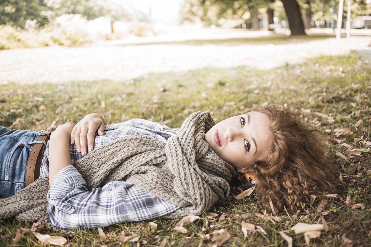 Картинка Шатенка Шарф Осень молодая женщина смотрит шатенки шарфе шарфом Девушки девушка осенние молодые женщины Взгляд смотрят