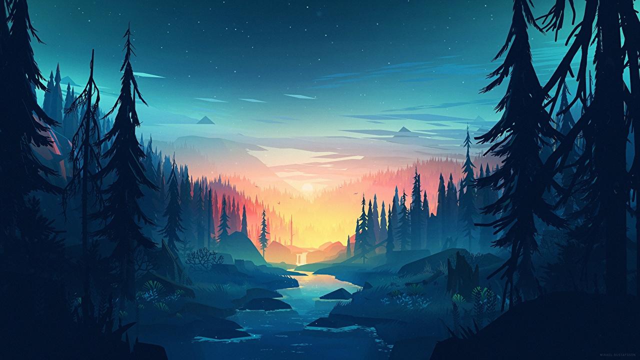Обои для рабочего стола Firewatch, Campo Santo Горы Ручей Природа Леса Игры Вечер Деревья