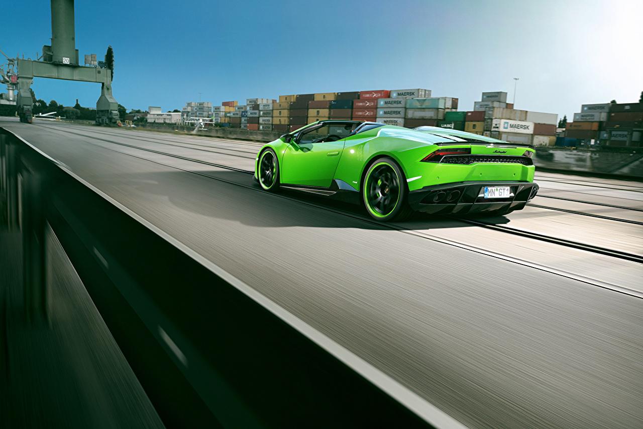 Картинки Ламборгини Huracan Spyder Novitec Torado зеленые машина Lamborghini зеленых Зеленый зеленая авто машины автомобиль Автомобили