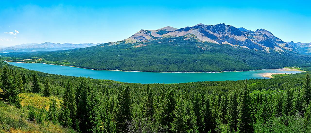 Фотографии америка Glacier Saint Mary Lake Горы Природа Леса Парки Озеро США штаты гора лес парк