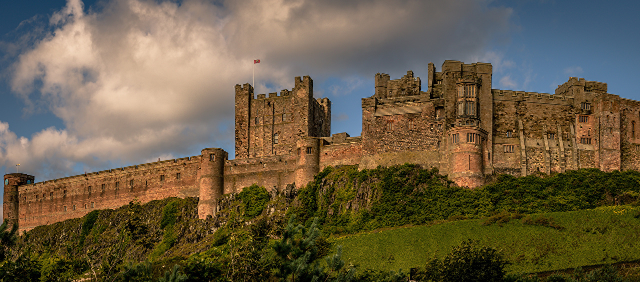 Картинка Англия Northumberland Bamburgh Castle Замки Города