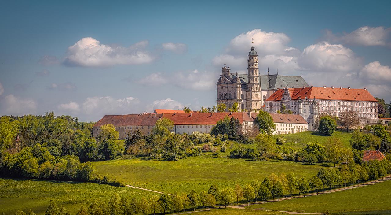 Фотография Церковь Монастырь Германия Neresheim Abbey город Здания Ландшафтный дизайн Дома Города