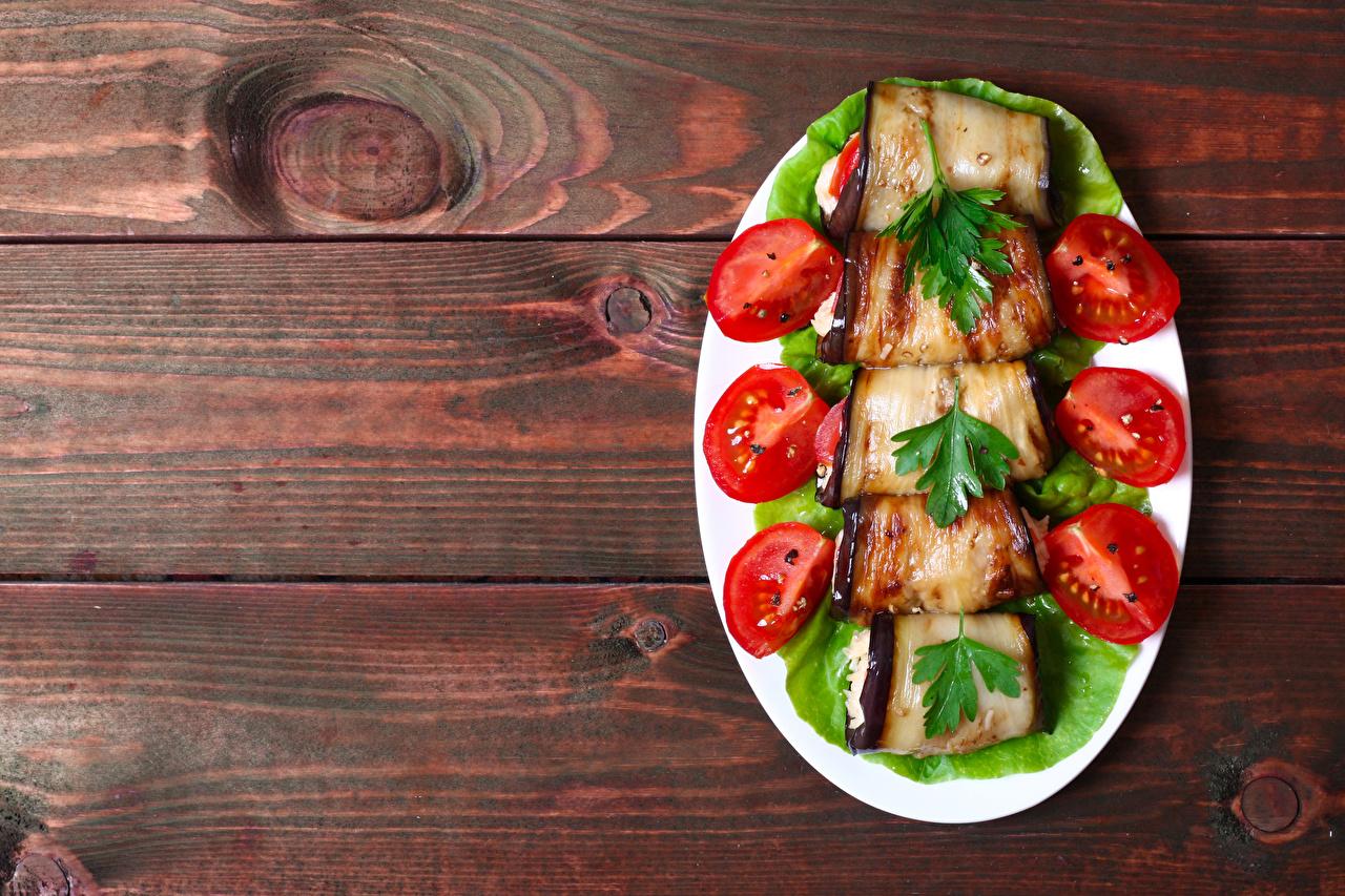 Фотография Баклажан Помидоры Еда Овощи Тарелка Доски Томаты Пища Продукты питания