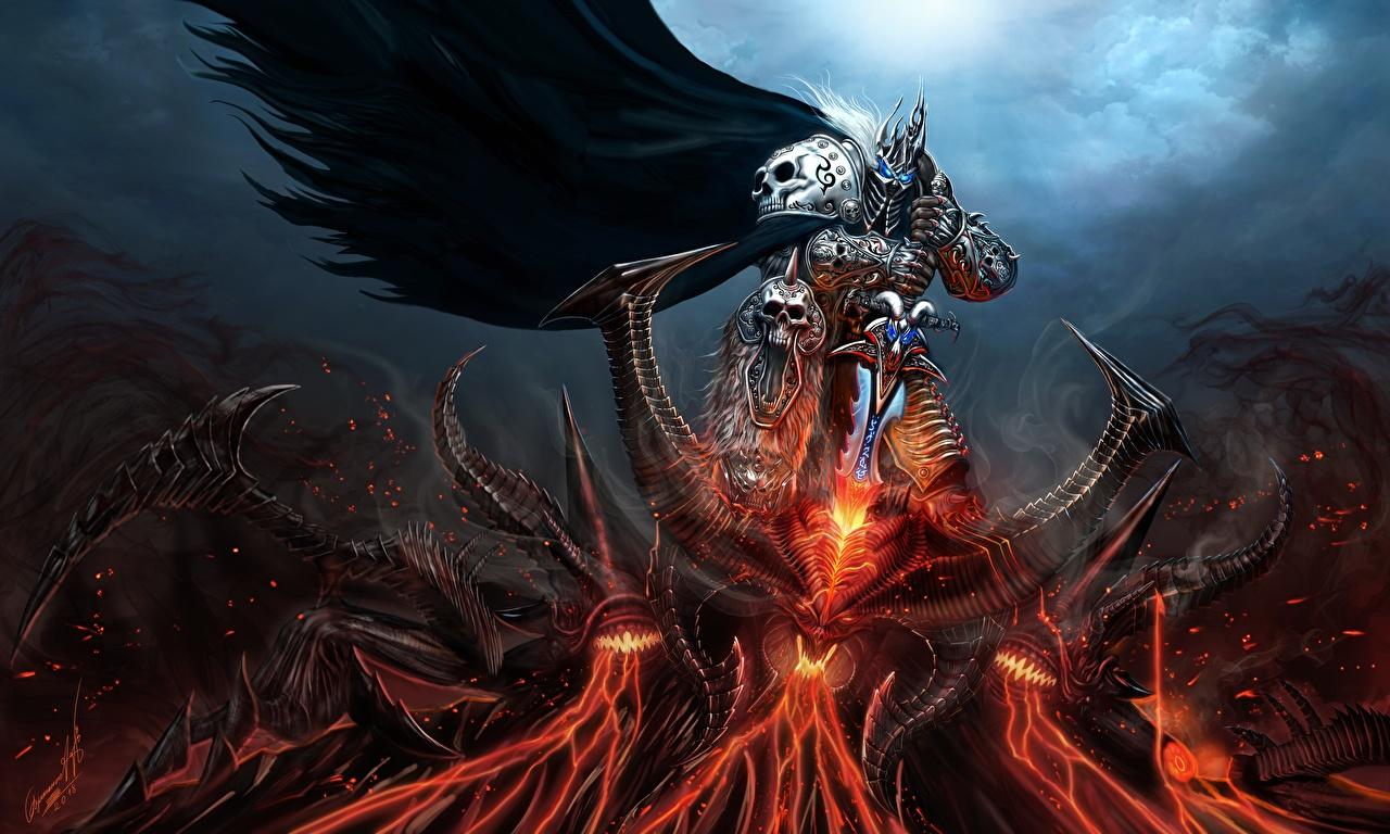Картинка WoW Diablo Мечи броня демон Воители lich king Фэнтези компьютерная игра Битвы World of WarCraft меч меча броне с мечом Доспехи доспехе доспехах Демоны воин воины Фантастика Игры битва сражения