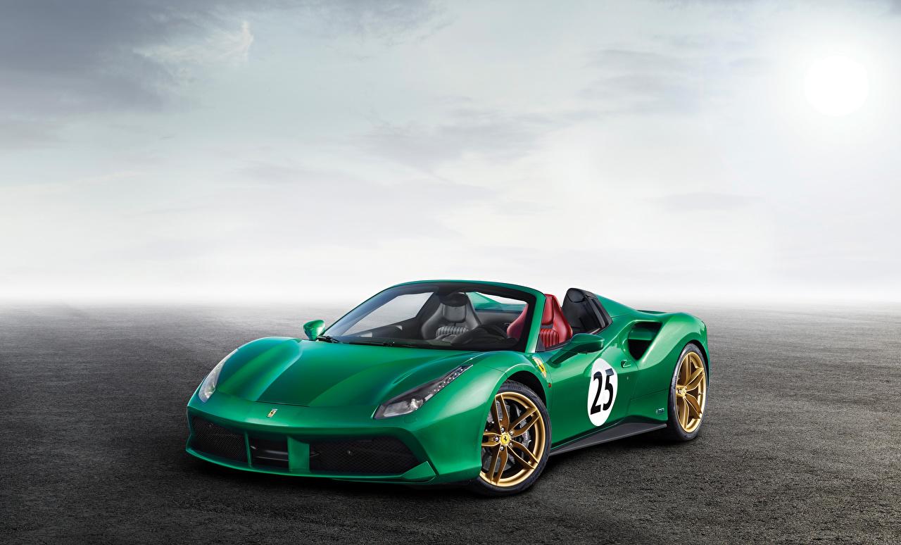 Картинка Феррари 2017-18 488 Spider The Green Jewel Родстер зеленая машины Ferrari зеленых зеленые Зеленый авто машина автомобиль Автомобили