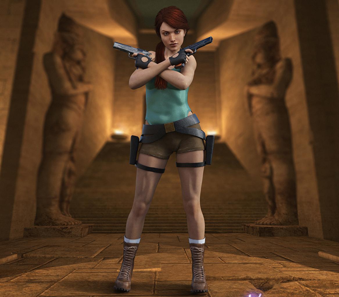 Картинка Tomb Raider Tomb Raider Legend Лара Крофт пистолетом Девушки 3D Графика Игры пистолет Пистолеты 3д девушка молодые женщины молодая женщина компьютерная игра