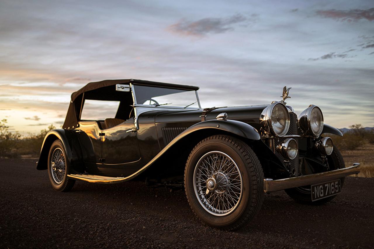 Фотография 1934 Alvis Speed 20 SB Tourer by Cross Ретро черных Металлик Автомобили Черный черные черная винтаж старинные авто машина машины автомобиль