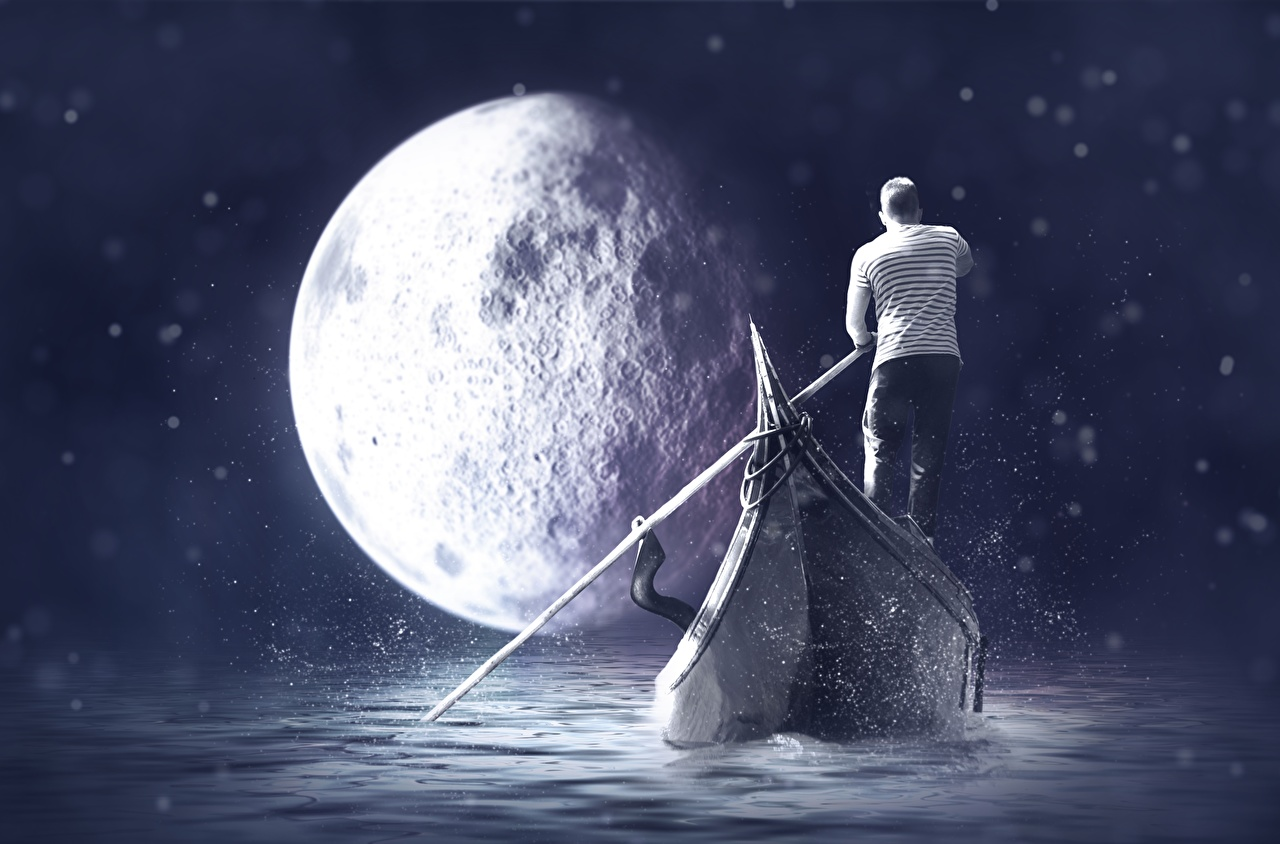 Фото Мужчины Фантастика Луна Лодки Фэнтези