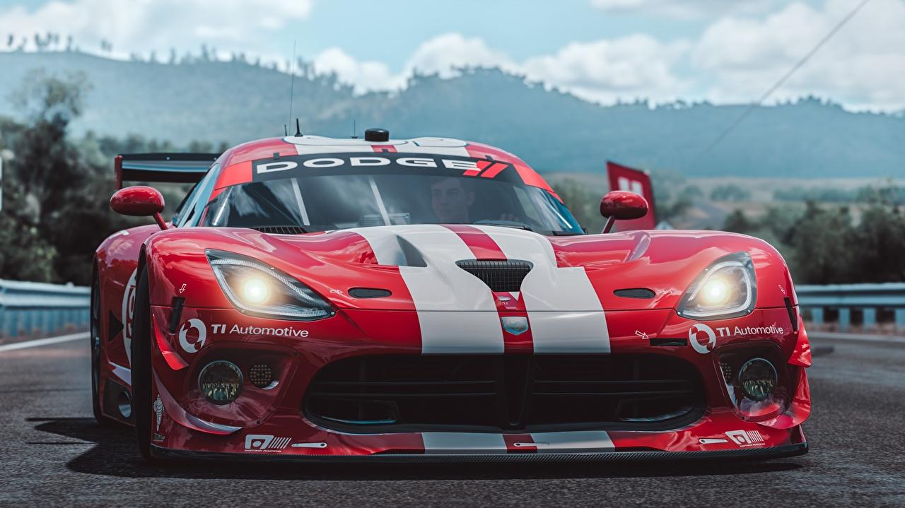 Картинка Додж Viper SRT by Wallpy Forza Horizon 3 красная Игры Спереди полосатая Автомобили Dodge Красный красные красных компьютерная игра авто машины машина Полоски полосатый автомобиль