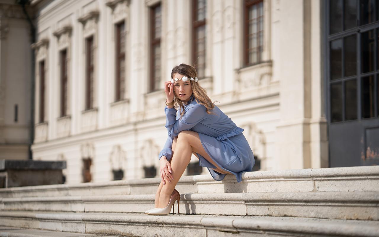 Картинка боке Венок девушка Лестница Ноги сидя смотрят платья Размытый фон венком Девушки лестницы молодая женщина молодые женщины ног Сидит сидящие Взгляд смотрит Платье