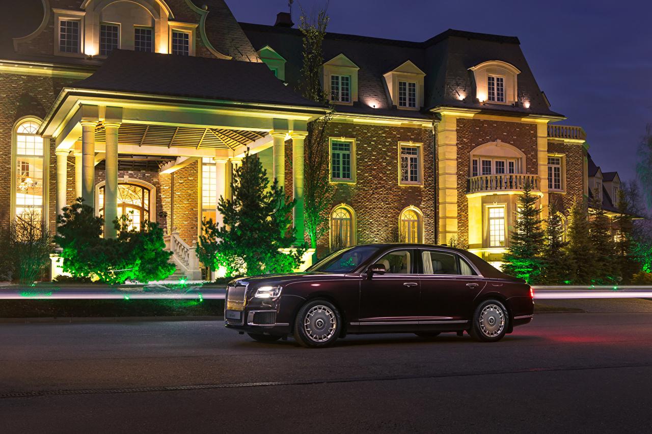Фотография Aurus 2018-19 Senat S600 темно красный Сбоку Автомобили Бордовый бордовые бордовая авто машина машины автомобиль
