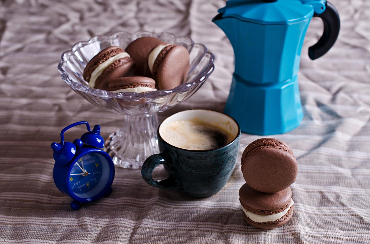 Картинки Макарон Кофе Часы Капучино Будильник Еда Чашка Пища чашке Продукты питания