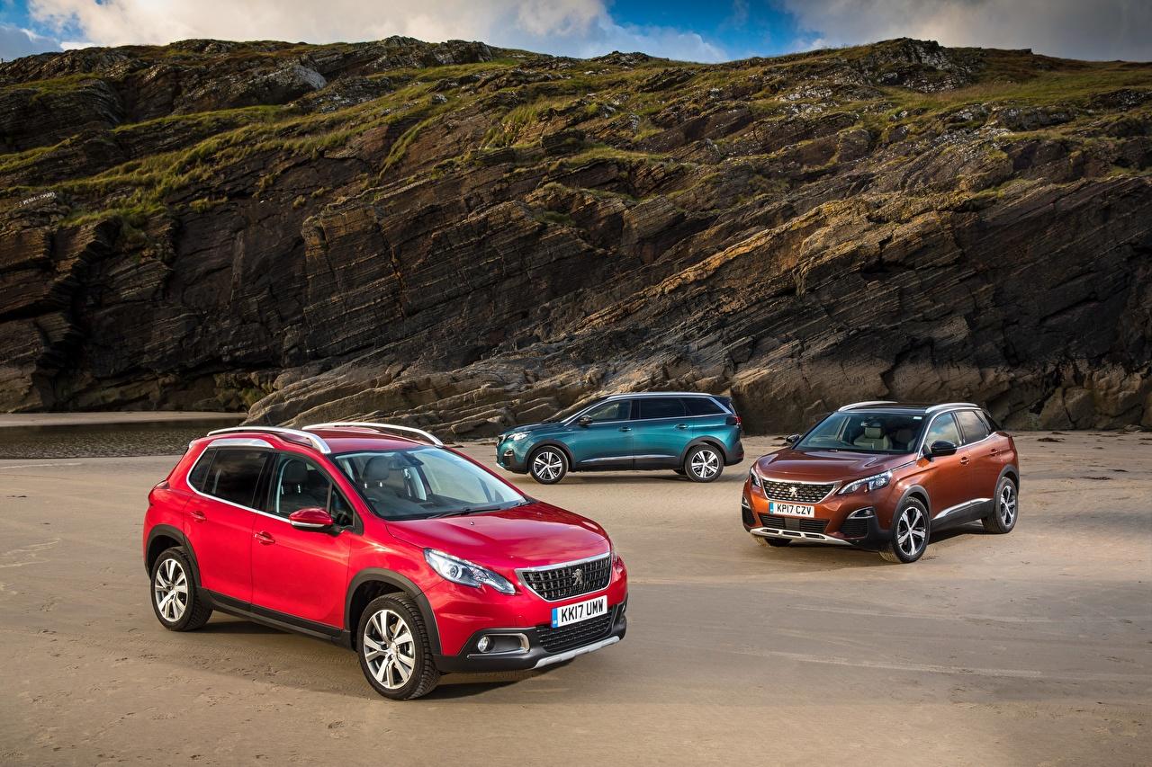 Обои для рабочего стола Peugeot Трое 3 машины Металлик Пежо три авто машина втроем автомобиль Автомобили
