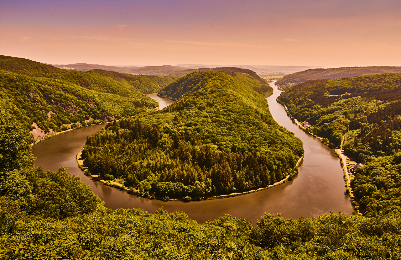 Фото Германия Saarland Природа Леса Пейзаж холмов Реки лес холм Холмы река речка