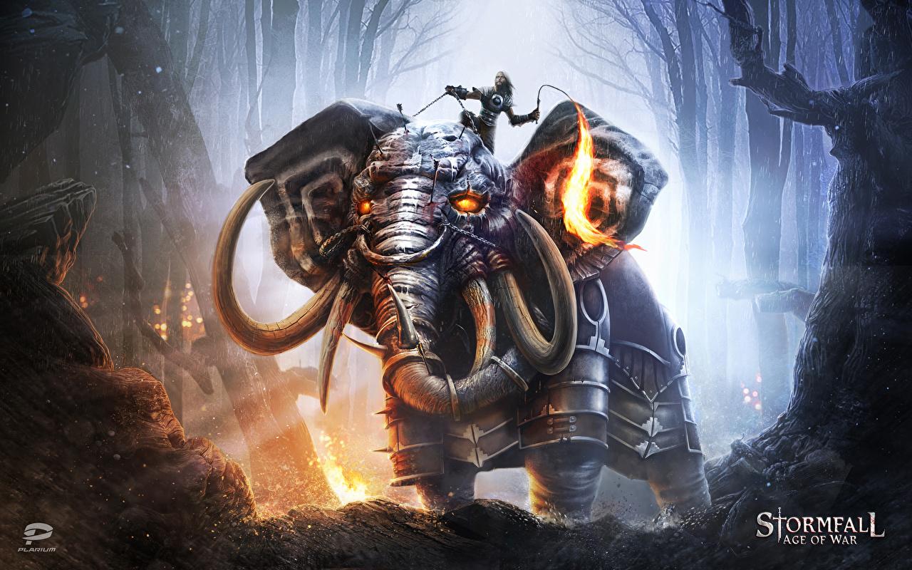 Картинки Stormfall: Age of War Слоны Доспехи Воители Фантастика Игры броня воины Фэнтези