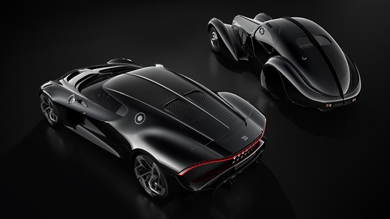 Фотографии BUGATTI La Voiture Noire черная Автомобили на черном фоне черных черные Черный авто машина машины автомобиль Черный фон