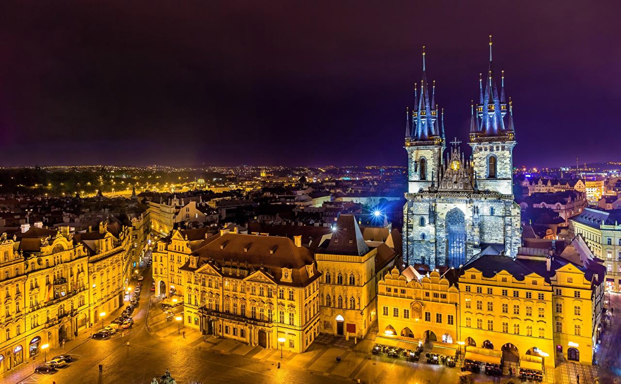 Фото Прага Чехия Улица Ночь Храмы Города Здания Ночные Дома