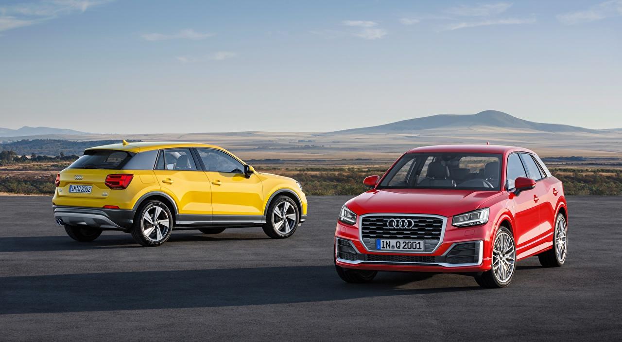 Картинки Ауди Кроссовер Q2, TDI, quattro, 2016 две желтые Красный машина Audi CUV 2 два Двое вдвоем желтая Желтый желтых красная красные красных авто машины Автомобили автомобиль