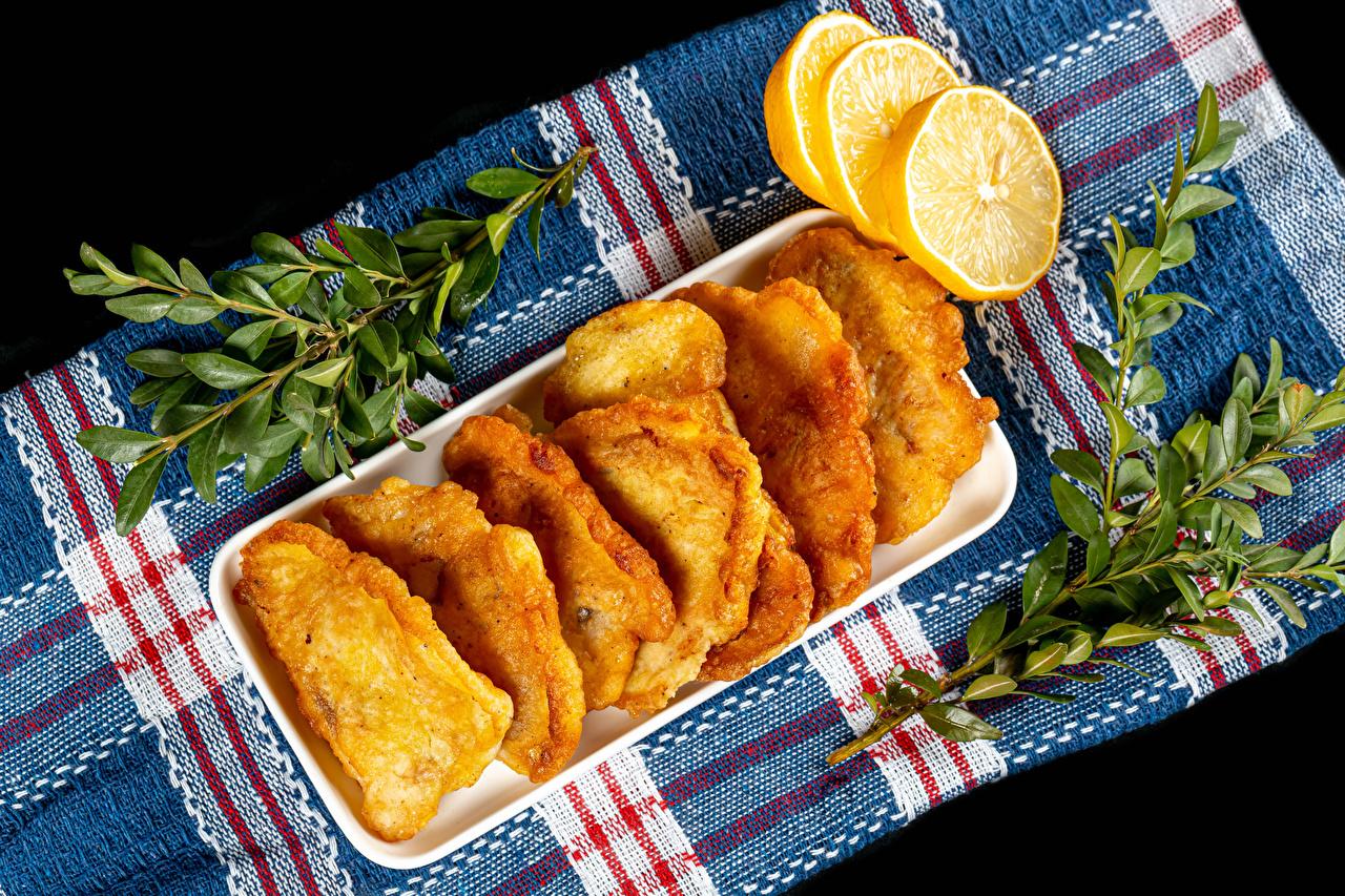 Фото fish in batter Лимоны Еда ветвь Пища Ветки ветка на ветке Продукты питания