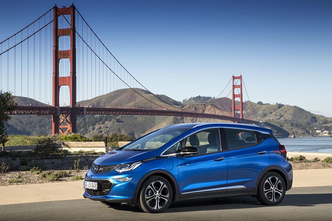 Картинка Опель 2017 Ampera-e Синий Металлик автомобиль Opel синих синие синяя авто машина машины Автомобили