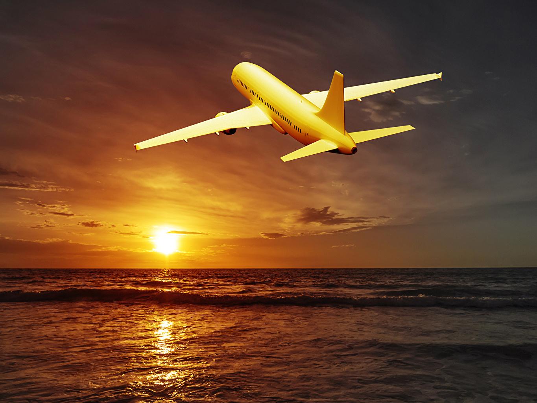 Самолеты, Пассажирские Самолеты, Небо, Рассветы и закаты, Море Солнце, Горизонт Авиация