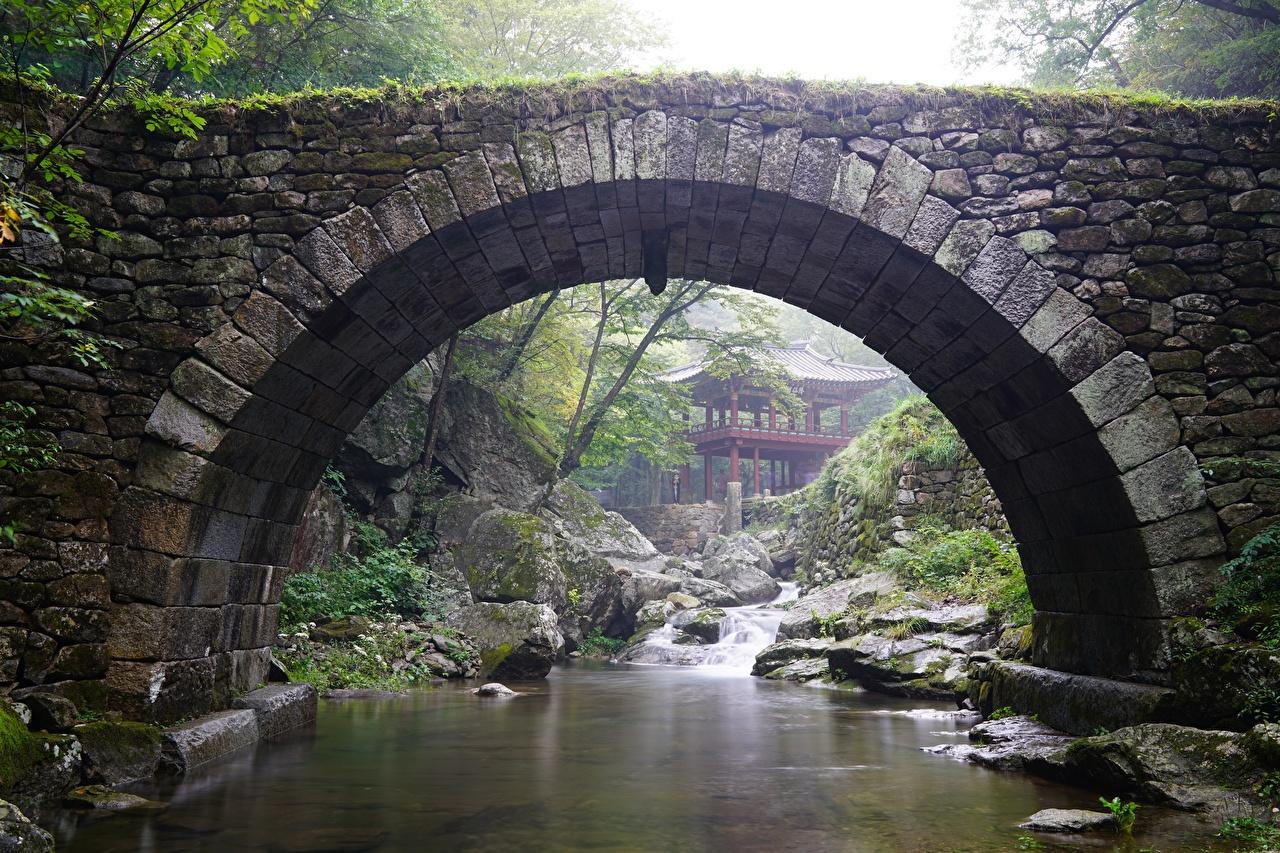 Картинки Южная Корея Арка Gangwon-do Мосты Ручей Природа Парки Камни Храмы Камень