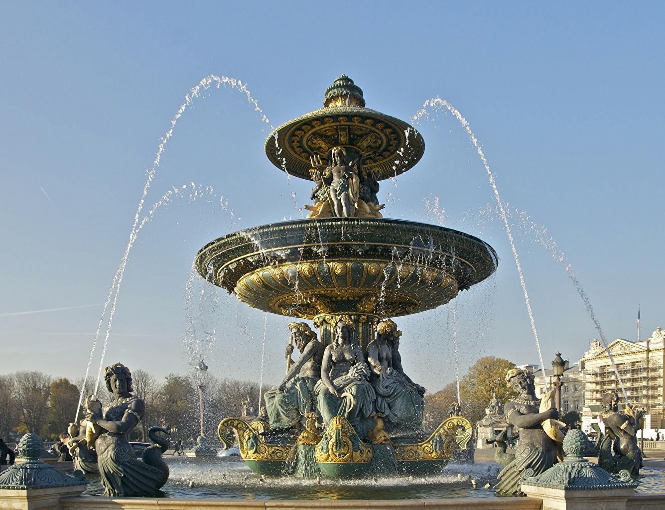 Картинки Париж Франция Фонтаны Place de la Concorde город скульптура париже Города Скульптуры