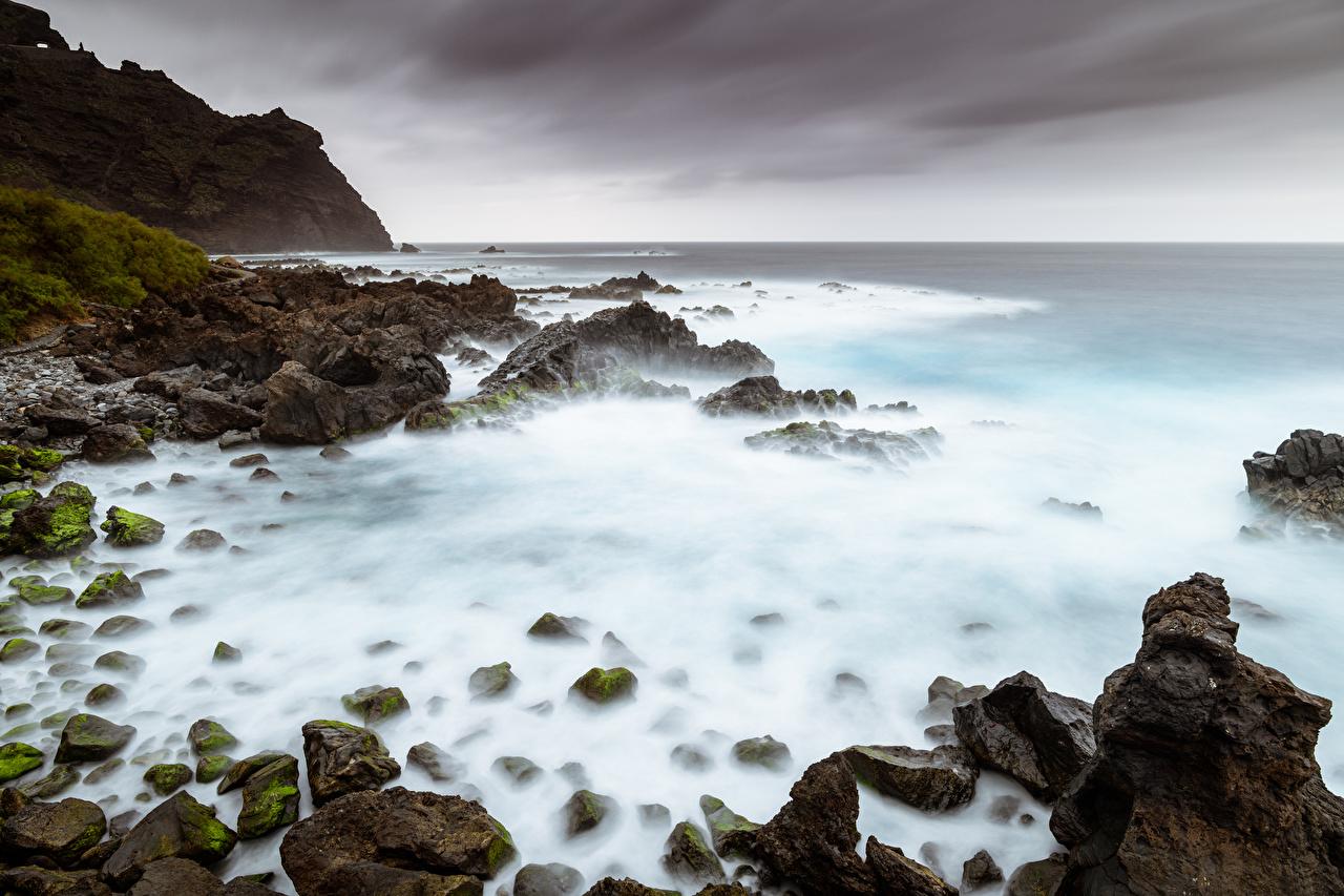 Фотография Испания Canary Islands, Tenerife Море Утес Природа Камень Побережье Скала скале скалы берег Камни