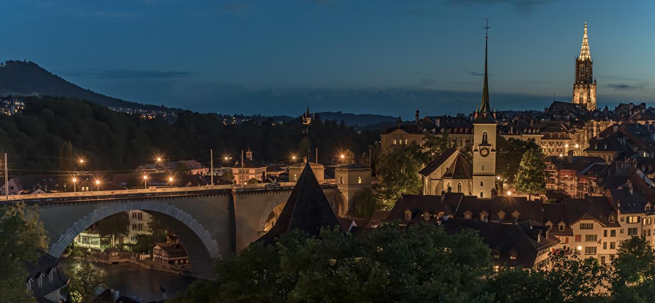 Фото Берн Швейцария Горы Мосты город Здания мост гора Дома Города